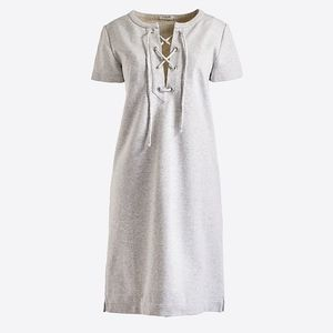 J Crew Lace Up Cotton Knit Dress Gray NEW!